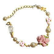 Handmade fleur rose et perle Golden Chain Pays Lolita Bracelet