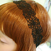 Women's Elegant Black Wide Lace Headband