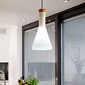 60W Contemporary Pendant Light with Glass Shade in Flask Design