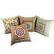 Set of 4 Dunhuang Scenic Polyester Decorative Pillow Cover