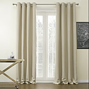 (Two Panels) Classic Beige Solid Blackout Curtains