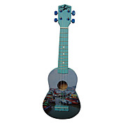 (Boats) Laminated Basswood Soprano Ukulele with Bag/String/Picks(Blue)