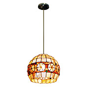80W Classic Tiffany Pendant Light with Colorful Nature Shell Material Integrated Globle Shade Down