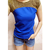 Women's Contrast Color Splicing Shirt