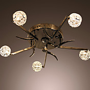50W Artistic Modern Flush Mount with 5 Lights and Spring Globe Shades in Reaphook Feature