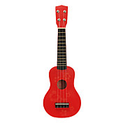 Patrn de flores Plywood Ukulele Soprano para nios (rojo)