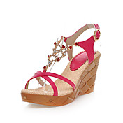 Elegant Leatherette Wedge Heel Sandals With Flower/Rhinestone Party/Evening Shoes(More Colors)