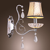 40W Modern Wall Light with Chandelier Feature Arm and Fabric Shade in Crystal Pendants Design