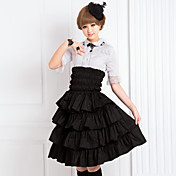 Knee-length Front Frilled Black Cotton Classic Lolita Skirt