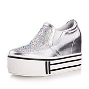 Specific Leather Platform Heel Sneakers With Rhinestone Casual Shoes(More Colors)