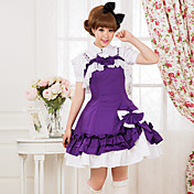 Straped Knee-length Purple Cotton Aristocrat Lolita Dress