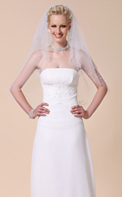 Two-tier Elbow Wedding Veil With Beaded Edge