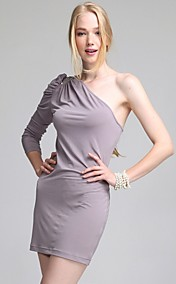 ts ein-Schulter-Juwel verziert plissierten BodyCon Kleid