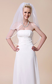 Two-tier Elbow Wedding Veils With Ribbon Edge