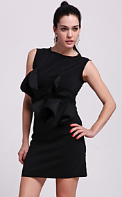 TS Ruffle Waist Sleeveless Sheath Dress