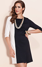 TS Color Block Mid Sleeve Sheath Dress