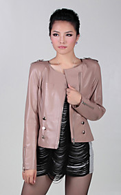 Long Sleeve Collarless Party/ Career Lambskin Leather Jacket (More Colors)