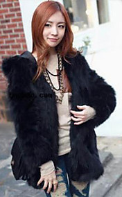 Long Sleeve Hooded Collar Evening Faux Fur Coat
