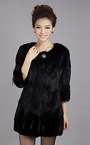 3/4 ærme krave Evening Rex Rabbit Fur Coat med Mink Fur Sleeve Bottom