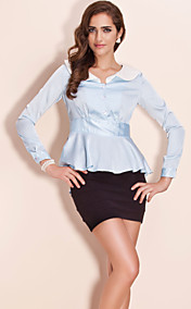 TS Ruffle Collar Contrast Color Blouse