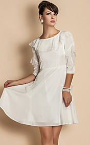 TS Ruffle Collar Chiffon Dress
