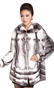 Elegant Long Sleeve Mink Fur Hooded Collar Evening/Casual Mink Fur Coat