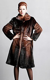 Manga comprida abertura Collar Mink Fur Coat Evening / Office