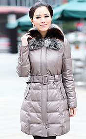Fantastic Long Sleeve Fox Fur Shawl Collar Lambskin Leather Casual/Party Coat (More Colors)