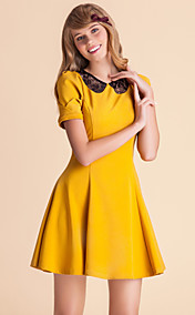 TS Lace Back Contrast Collar Skater Dress