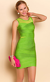 TS Mesh Splicing Vest Bodycon Bandage Dresses