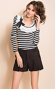 TS Stripes Ruffle Collar Puff Sleeve Basic T Shirt