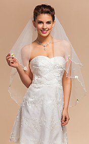 Elegant One-tier Elbow Wedding Veils With Pencil Edge