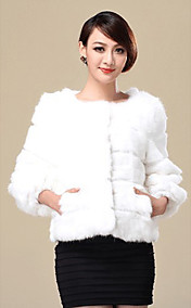 Nice 3/4 Sleeve Collarless Rabbit Fur Casual/Party Jacket(More Colors)