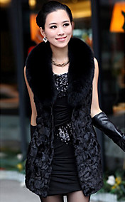 Fox Fur xaile da pele de carneiro Leather & Mink Fur Casual / Festa Vest