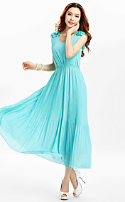 TS Flora Shoulder Pleats Chiffon Midi Dress