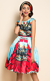 TS Ethnic Print Wespentaille Swing-Kleid
