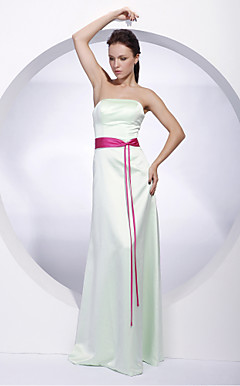 Sheath/ Column Strapless Floor-length Satin Bridesmaid/ Wedding Party Dress