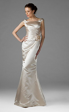 Trumpet/Mermaid Square Floor-length Satin Bridesmaid/Wedding Party Dress