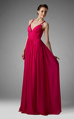 Sheath/Column Spaghetti Straps Floor-length Chiffon Over Mading Bridesmaid/Wedding Party Dress