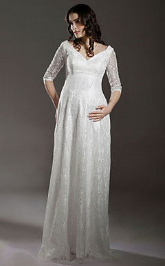 Sheath/ Column Empire V-neck Floor-length Lace Over Satin Half-Sleeve Maternity Wedding Dress
