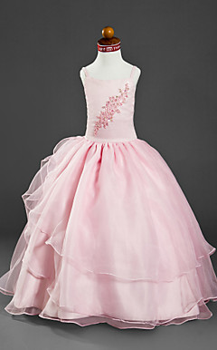 Ball Gown Spaghetti Straps Floor-length Satin Organza Flower Girl Dress