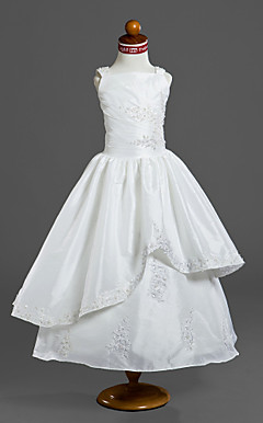 Ball Gown Square Tea-length Capped Taffeta Flower Girl Dress / First Communion Dress