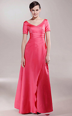 A-line V-neck Floor-length Satin Mother of the Bride Dress