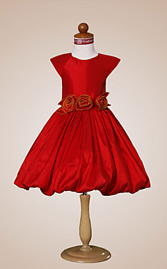 A-line Jewel Knee-length Taffeta Flower Girl Dress