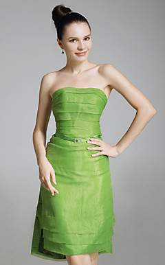 Organza Stretch Satin Sheath/Column Strapless Evening Dress