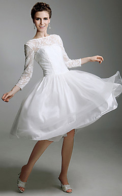 A-line Bateau Knee-length Satin Wedding Dress