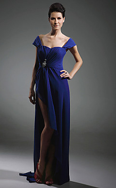 Chiffon Sheath/Column Off-the-shoulder Sweep Train Evening Dress inspired by Mariah Carey at Oscar
