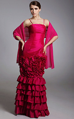 Taffeta Trumpet/ Mermaid Spaghetti Straps Floor-length Evening Dress inspired by Golden Globe