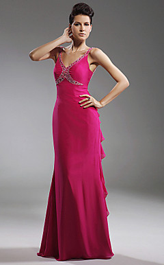 Trumpet/Mermaid V-neck Floor-length Chiffon Stretch Satin Evening Dress