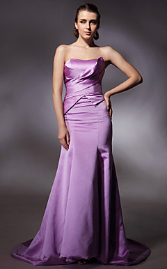 Satin Trumpet/ Mermaid Strapless Court Train Evening Dress inspired by Leona Lewis at Golden Globe